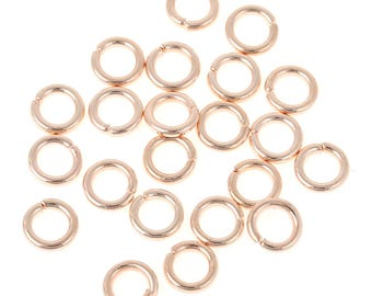 100 5mm rose gold plated jump rings