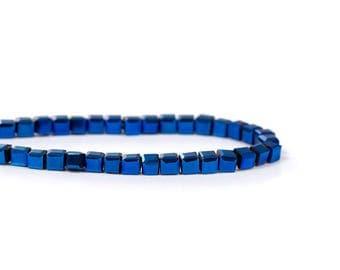 "100 cubic beads 3mm glass faceted ""Bleu FONCÉ"""