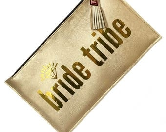 Bride Tribe Gold Statement Bag - Gold Clutch - Say What Collection - Gift For Her