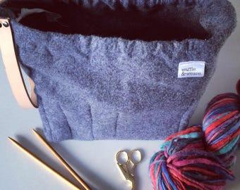 Grey/Gray felt knitting bag/crochet bag/craft bag/yarn bag/weaving bag/ project bag with leather strap
