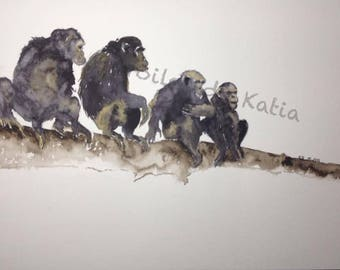 Planet of the apes. Watercolor on paper 30 X 40 format. June 2015.