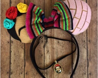 Frida and Pink Concha inspired Disney Ears (chocker not included )