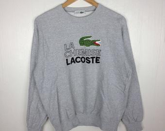 Rare !! Vintage LA CHEMISE LACOSTE Embroidery Big Logo Grey Sweatshirt Large Size