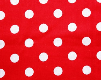 Polkadot Fabric, Large Dots, Red, Cotton Fabric, Basic Essential, Polkadot, Quilting Dressmaking Sewing Patchwork Supplies, Wide, Half Metre