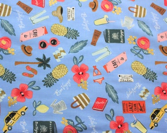 Cotton and Steel Fabric, Rifle Paper Co., Les Fleurs, Bon Voyage, Periwinkle, Metallic, Cotton, Light Blue, Lightweight, Half Metre