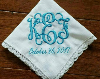 Monogrammed Embroidered wedding hankerchief with lace and date option, something blue Bride, Bridesmaid gift.