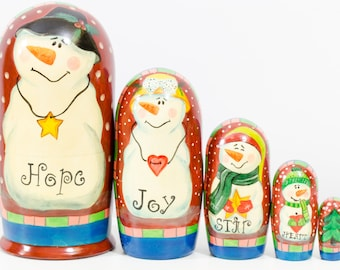 "Nesting Doll - ""Symbolic Snowmens"" - 5 dolls in 1 - MEDIUM SIZE - Hand-painted in Russia"