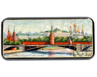 "Russian Fedoskino Lacquer Box - MEDIUM SIZE - ""Moscow. Mosskvoretski bridge"" - Hand Painted in Russia - Collectible Art Quality"