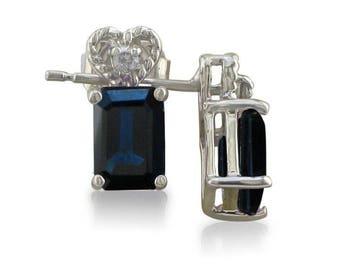 10k White Gold 1ct Emerald Cut Sapphire And Diamond Earrings