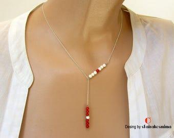 Lariat Y Necklace, Sterling Silver Y Necklace, Long Drop Necklace, Minimalist Drop Necklace, Long Bar Necklace, Red Coral Drop Necklace.