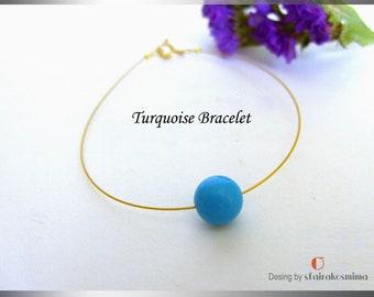 Single Blue Turquoise Bracelet, Dainty Turquoise Bracelet, One Stone Bracelet, Simple Gold Bracelet, Bridesmaid gift.
