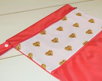 Gold hearts bag