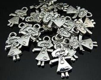 set of 5 charm silver girl 17x10mm