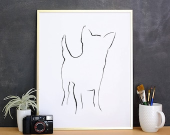 Chihuahua, Minimalist Dog Art Print,  Pet Loss Gift Ideas, New Dog Owner Gift, Dog Mom Gift, Dog Owner Decor, New Puppy Gift, Best Dog Gifts