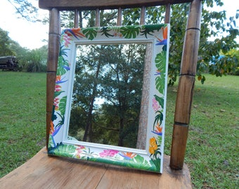 Tropical hand painted wooden frame with mirror