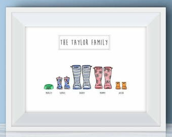 Family Welly Boots prints/ Personalised/Wall Art/Welly Boots/Family Artwork/welly boots family/personalised family