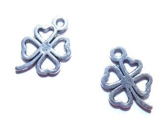 LAST set - 15mm silver 4 leaf clover charms x 2