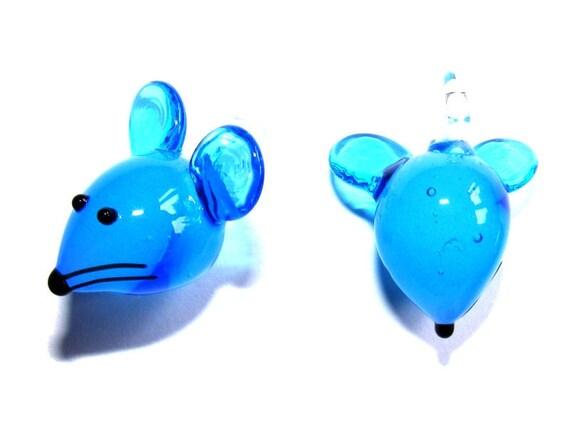 Pendant 30 mm blue mouse x 1