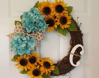 Hydrangea and sunflower wreath with optional initial