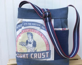 Shoulder Bag, Flour Sack, Handmade Bag, Upcycled Bag, Blue Purse, Upcycled Handbag, Pleated Handbag, Purse with Pockets, Summer Bag