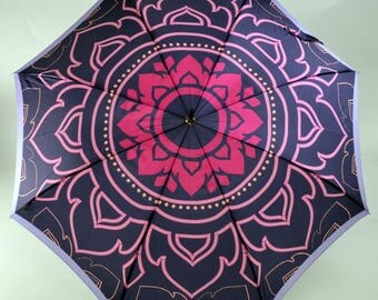Parapluie Piganiol satin imprimé orient violet