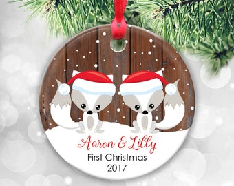 Twin Babies First Christmas Ornament, Personalised Christmas Ornaments, Custom Fox Ornament, Two Kids Fox Ornament, Rustic Faux Fake Wood