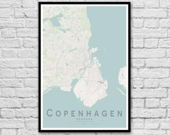 COPENHAGEN Map Print | Denmark City Map Print | Wall Art Poster | Wall decor | A3 A2