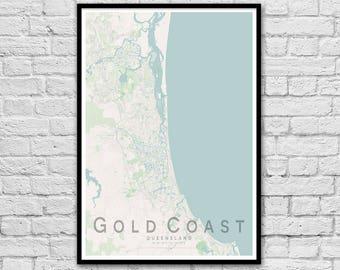 Gold Coast QLD City Street Map Print | Wall Art Poster | Wall decor | A3 A2