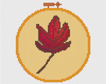 Leaf Needlepoint in Embroidery Hoop Cross Stitch Pattern
