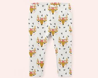 ORGANIC BABY PANTS fox geometric baby leggings made to order