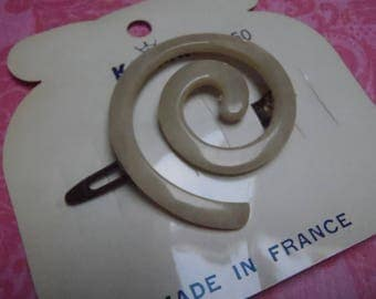 Vintage French Barrette 1960s Karina stylish cream spiral approx 1 5/8 inches (40 mm) across