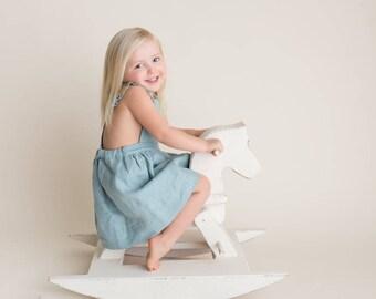 Girls Teal Dress - Girls Pinafore Dress - Toddler Dress - Girls Linen Clothing - Powder Blue Girls Linen Dress - Vintage Inspired Dress