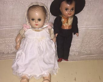 Lot of 2 Vintage Composition Dolls Small Mexican Ethnic Mariachi Baby Doll
