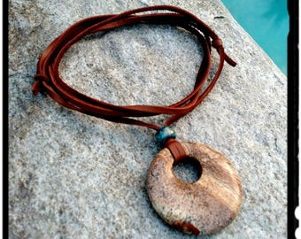 Stone Pendant Necklace - Picture Jasper Donut//Leather Suede//Blue Pony Bead - Adjustable Choker//Long Necklace - Boho/Hippie - Gift for Her