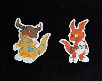 Digimon Dragons Inspired Cute 3 inch Vinyl Stickers Greymon and Guilmon