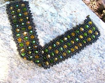 Beaded Sparkling Herringbone Bracelet