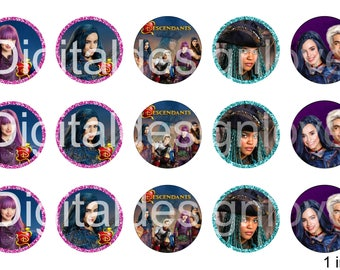 Descendants 2 Bottle Cap Images Descendants 1 INCH Round Images Descendants 2 images round images Descendants 2 BCI 1 inch Descendants image