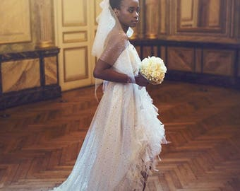 Wedding, tulle with sequins, ivory, Princess style dress