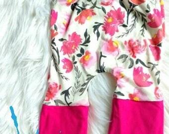Pantalon évolutif 6-36 mois,short fleurs, flowers,sweet, Watercolor,