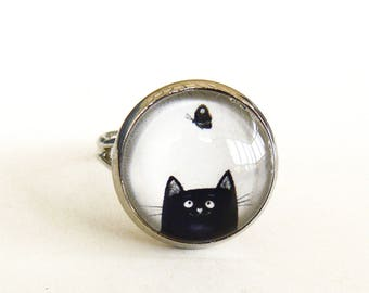 black cat and Butterfly under glass cabochon ring