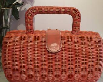 Orange Wicker Bag, Vintage Maxx New York Orange Rattan Bag, Boxed Straw Purse