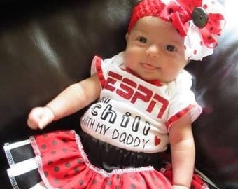 ESPN and Chill Outfit, New Baby Outfit, Coming Home Outfit, Baby Gift, Infant Gift, Baby Girl, NewBorn Girl, Sports Outfit, With my Daddy