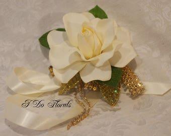 Ivory Gardenia Corsage, Cream Shoulder Corsage, White Wrist Corsage, Ivory and Gold Corsage, Tie On Wrist Corsage, Wedding Corsage