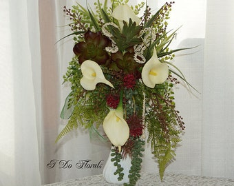 Cascading Bouquet with Succulents and White Calla Lilies Brides Bouquet, White Bridal Bouquet, Wedding Bouquet, Green and White Bouquet