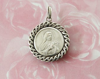 Large Vintage St. Therese, the Little Flower Medal from France