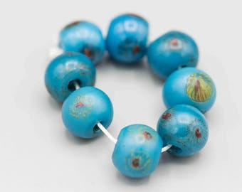 Peking Glass Dragon Eye Beads from The Qing Dynasty 8 Beads TB-214