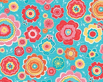 Stretchy Blue Floral Owl Cotton Knit fabric