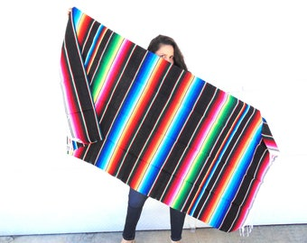 Serape, Mexican Serape, Mexican Blanket, Picnic Blanket, Striped Wool Throw, Beach Blanket, Serape Blanket, Boho Throw Blanket, Throws