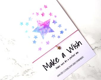Make a wish star bracelet, 24K gold filled bracelet, natural silk red string bracelet, bridesmaid bracelet, wedding jewelry, sister gift