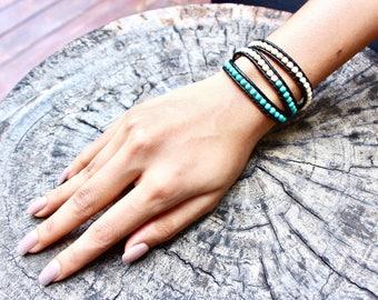 Turquoise And Cream Wrap Bracelet , Boho Bracelet, Beach Beaded Necklace, Wrap Anklet, Casual Beaded Jewelry, Simple Bracelet (A/B 8)